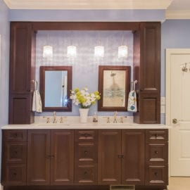 Cabico Double Vanity with Tower Surround and Pendant Lighting