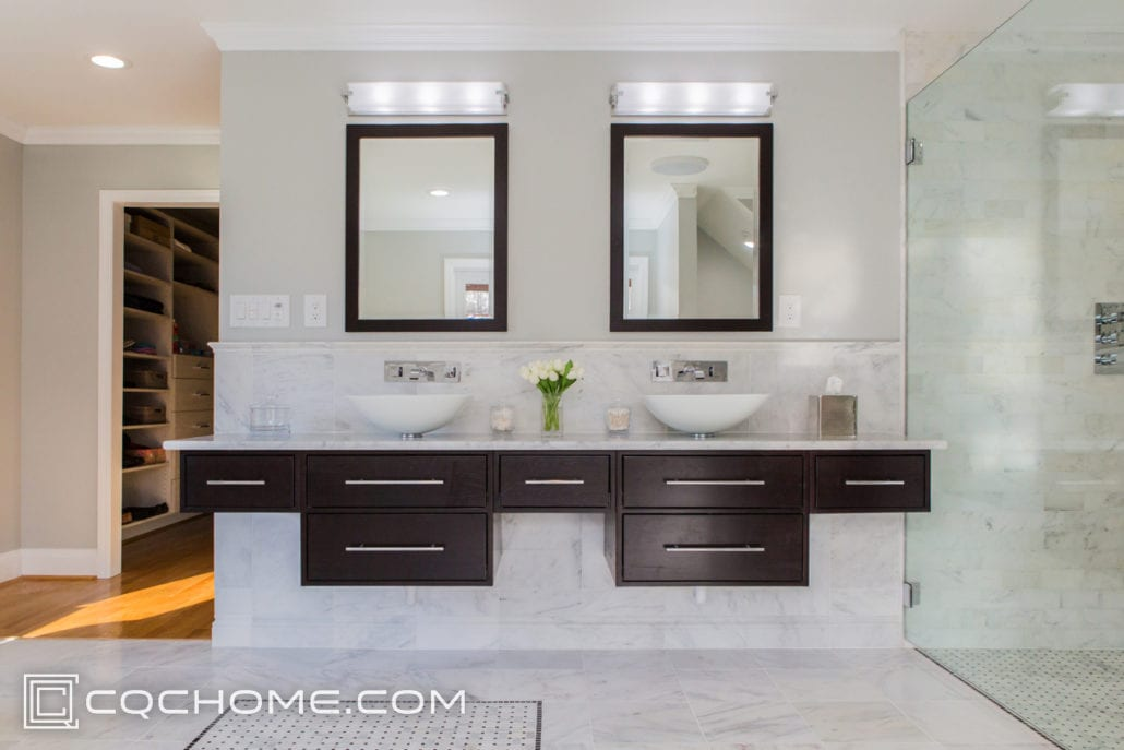 floating double vanity with vessel sinks