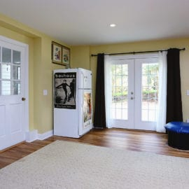Garage remodel with french doors
