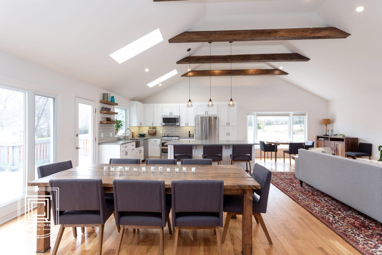 Hand Hewned Beams with Vaulted Ceilings