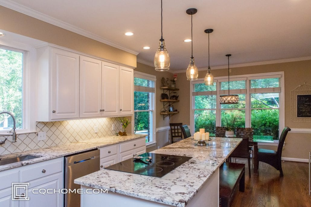 kitchen with four pendant light fixtures