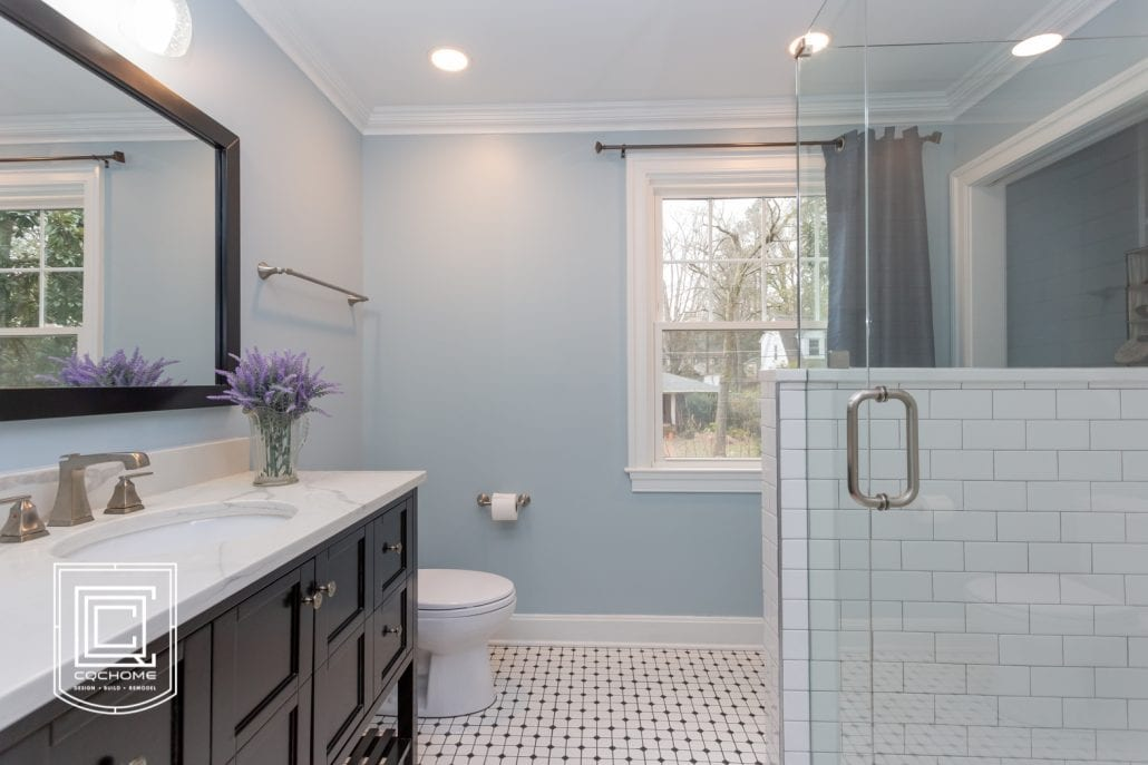 light blue painted bathroom