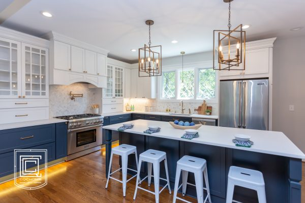 Kitchen Remodel with Navy Cabinets and Champagne Bronze Hardware